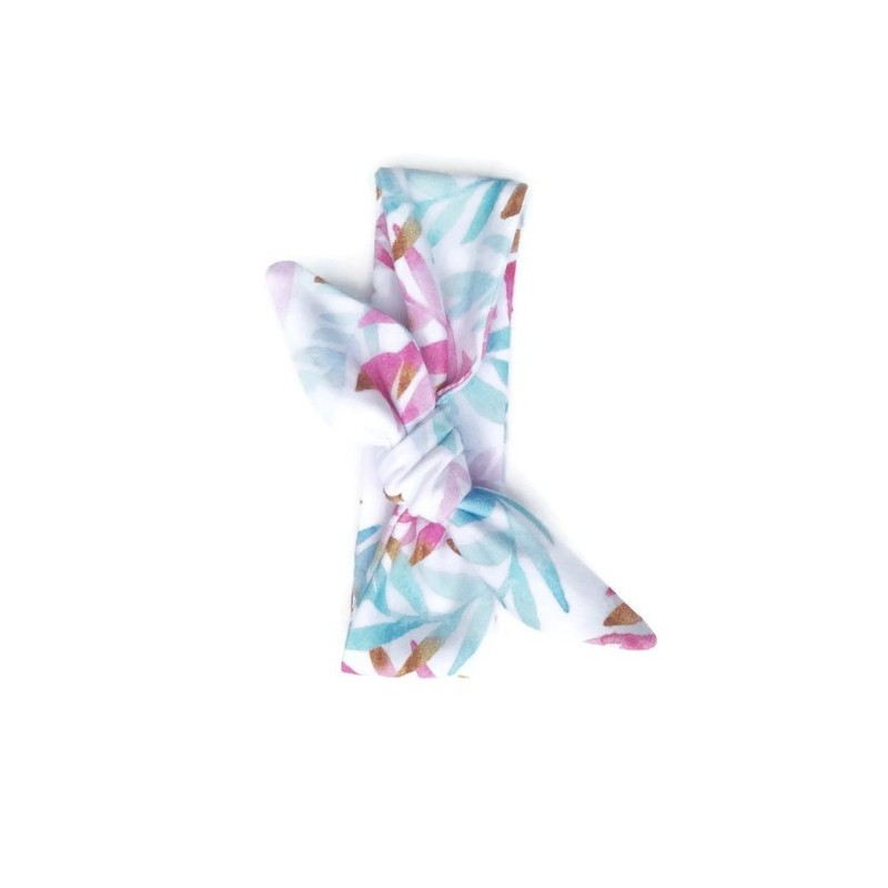 Tie knot haarband bright watercolour leafs
